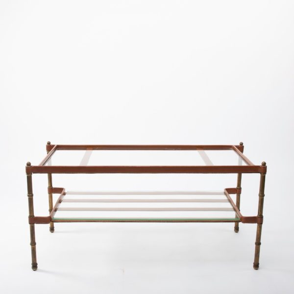 ZC21 Table Bronze Cuir Jacques Adnet_