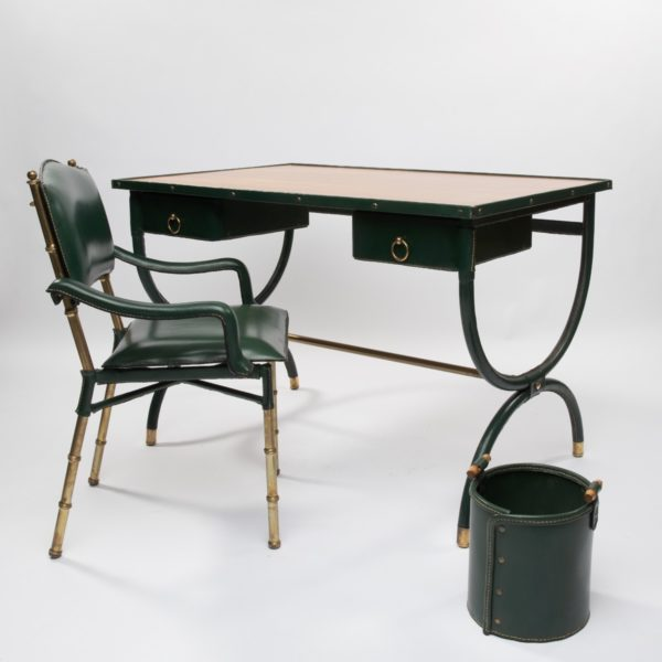 ZC35 Green leather set desk Jacques Adnet Unforget -6744