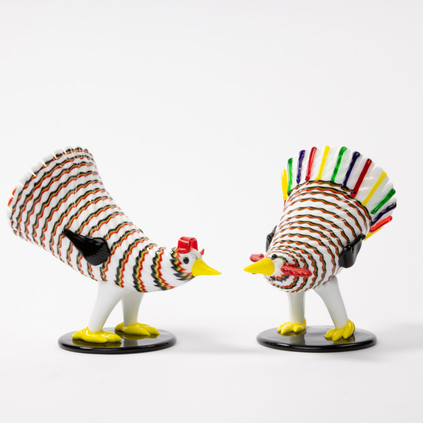 Matching pair of a rooster and hen by Fulvio Bianconi - img04