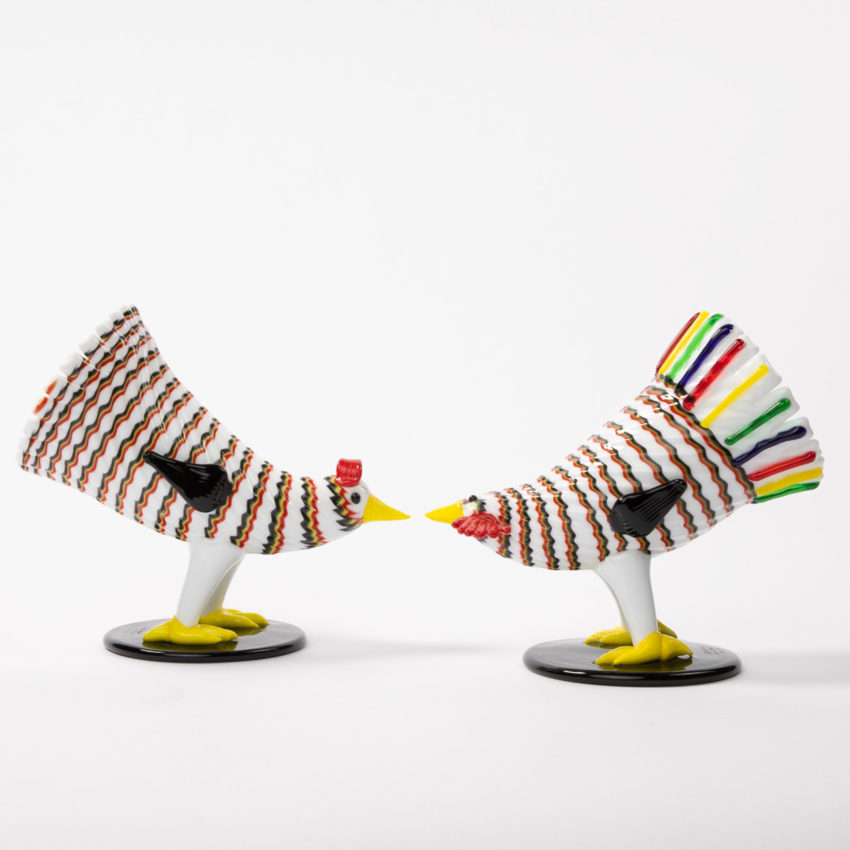 Matching pair of a rooster and hen by Fulvio Bianconi - img03