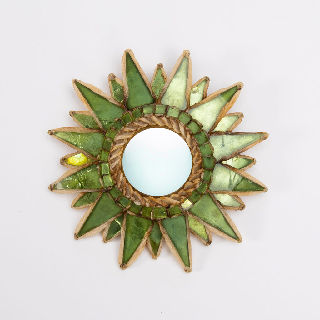 """""""Soleil à pointes"""" by Line Vautrin (France), light beige talosel inlaid with green lettuce mirrors, central convex mirror"""
