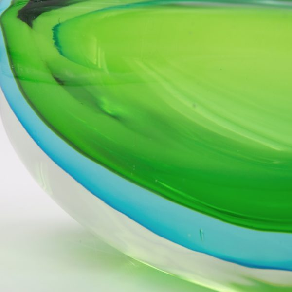 Vintage green and blue large Murano glass bowl by Antonio da Ros - img08