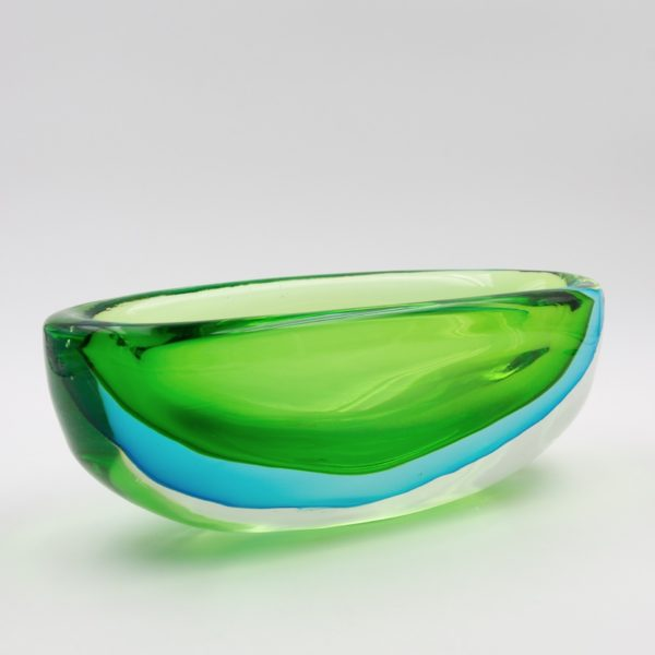 Vintage green and blue large Murano glass bowl by Antonio da Ros - img02