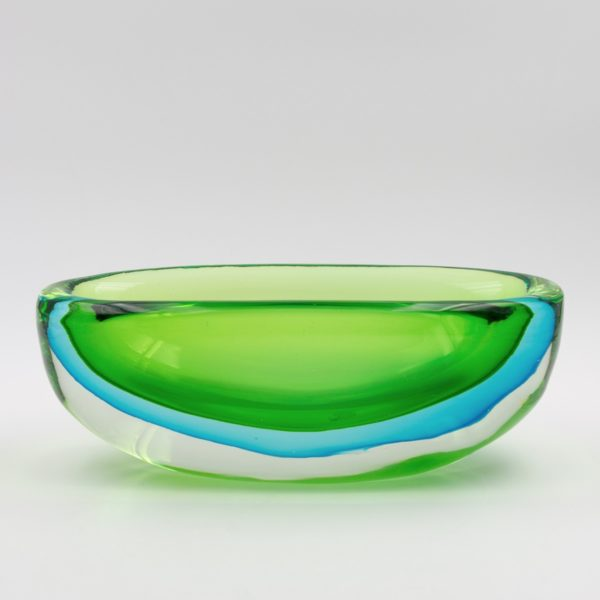 Vintage green and blue large Murano glass bowl by Antonio da Ros - img05