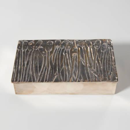 """""""Les roseaux à visage humain"""" silvered bronze box, Line Vautrin (France)"""