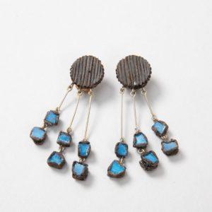 """Farah"""" talosel and incrusted blue mirrors earrings - 09"""