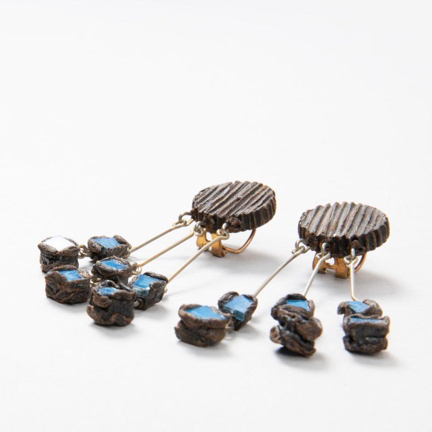 """Farah"""" talosel and incrusted blue mirrors earrings - 08"""