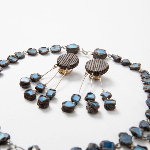 """Farah"""" talosel and incrusted blue mirrors earrings - 04"""