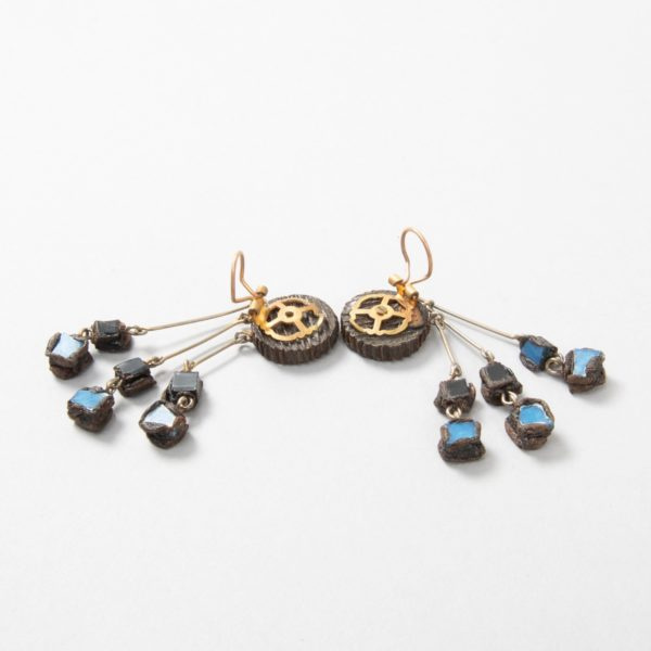 """Farah"""" talosel and incrusted blue mirrors earrings - 03"""