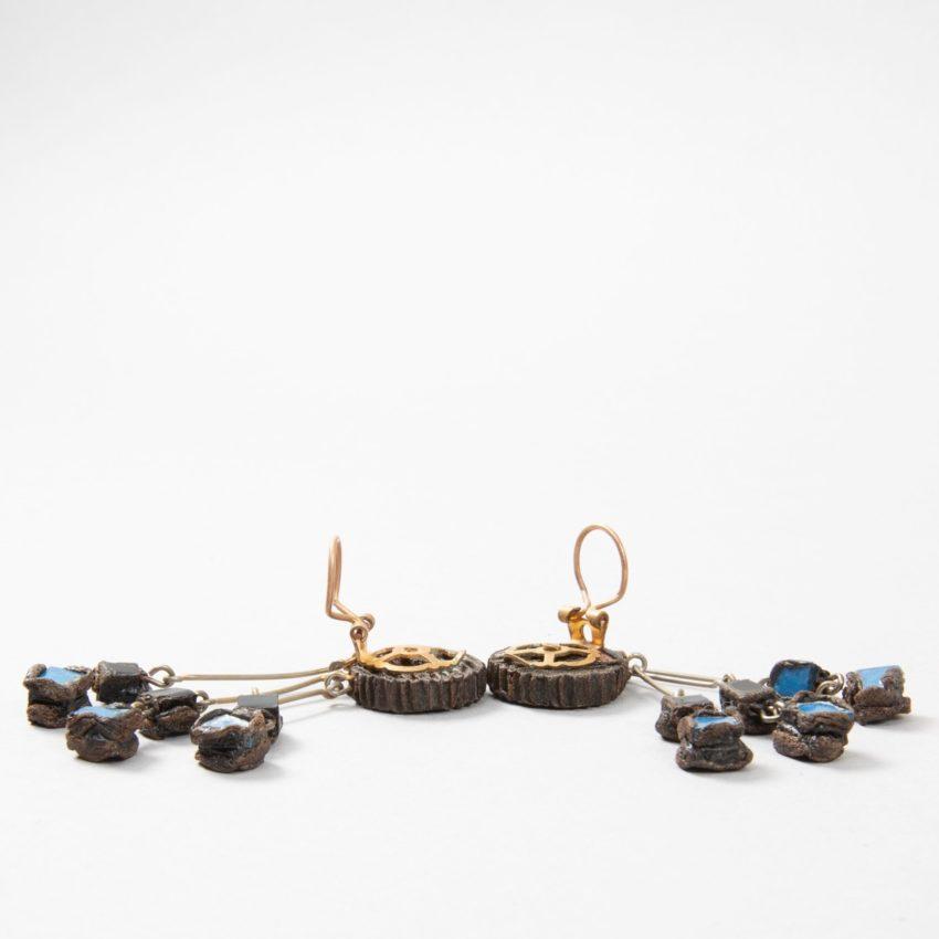 """Farah"""" talosel and incrusted blue mirrors earrings - 02"""