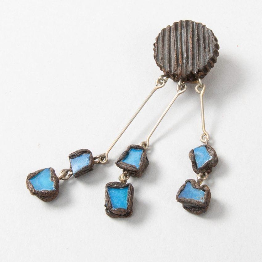 """Farah"""" talosel and incrusted blue mirrors earrings - 01"""