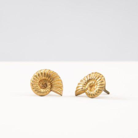 Boucles d'oreilles Nautile en bronze doré par Line Vautrin - 05