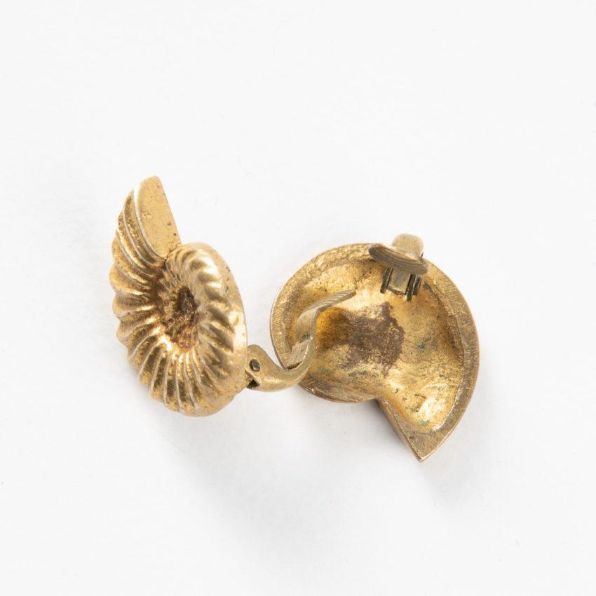"Line Vautrin, Fr, a Pair of ""Nautile"" Gilded Bronze Earrings - 01"