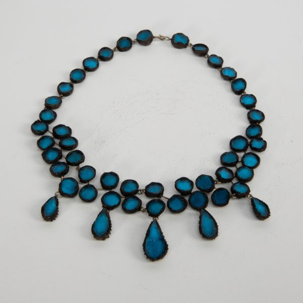 Black Talosel Necklace Incrusted with Ocean Blue Mirrors Line Vautrin France - 01