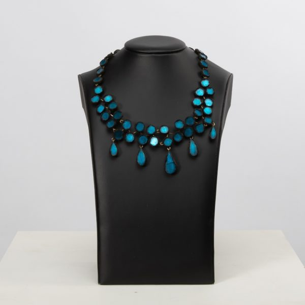 Black Talosel Necklace Incrusted with Ocean Blue Mirrors Line Vautrin France - 05