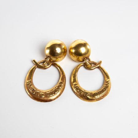 O comme oreille - paire de boucles d'oreilles en bronze doré par Line Vautrin - 07