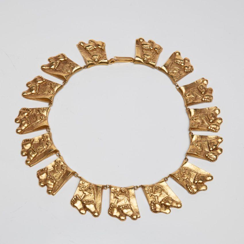 Berthe aux grands pieds by Line Vautrin gilt bronze necklace France - 01