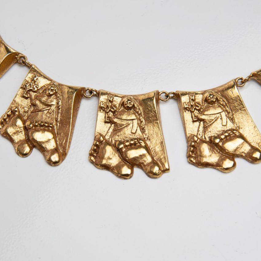 Berthe aux grands pieds by Line Vautrin gilt bronze necklace France - 02