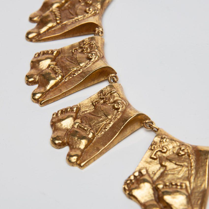 Berthe aux grands pieds by Line Vautrin gilt bronze necklace France - 05