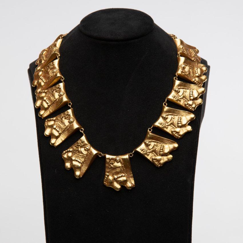 Berthe aux grands pieds by Line Vautrin gilt bronze necklace France - 06
