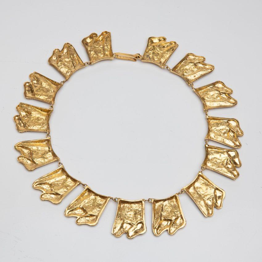 Berthe aux grands pieds by Line Vautrin gilt bronze necklace France - 07