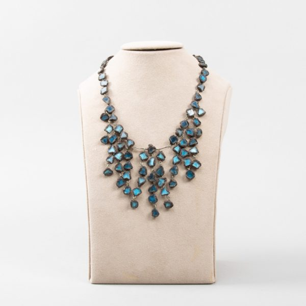 """Farah"""" talosel and incrusted blue mirrors large necklace Line Vautrin France - 02"""