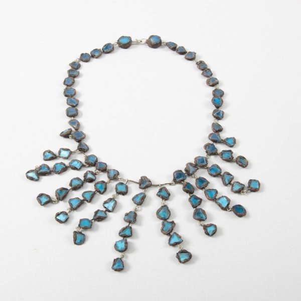 """Farah"""" talosel and incrusted blue mirrors large necklace Line Vautrin France - 01"""