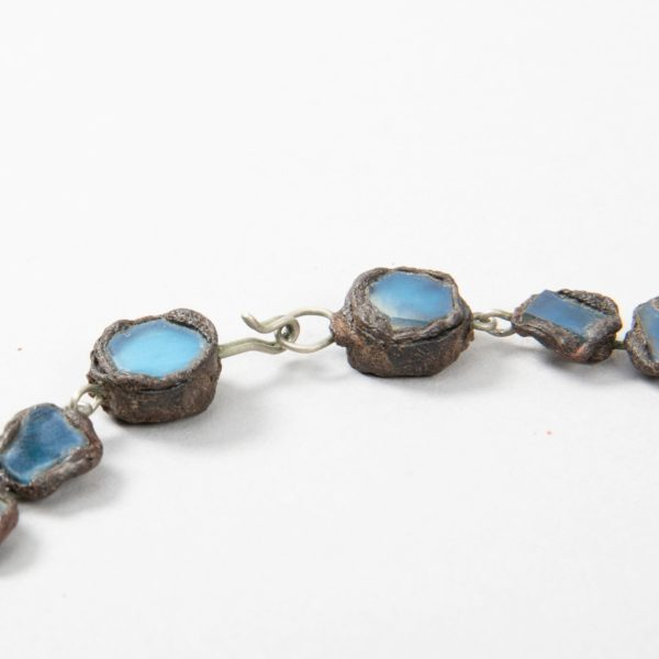 """Farah"""" talosel and incrusted blue mirrors large necklace Line Vautrin France - 04"""