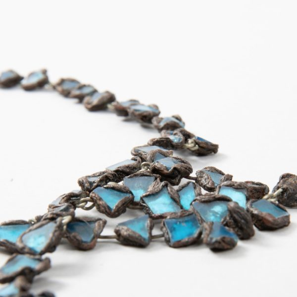 """Farah"""" talosel and incrusted blue mirrors large necklace Line Vautrin France - 05"""