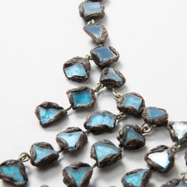 """Farah"""" talosel and incrusted blue mirrors large necklace Line Vautrin France - 06"""