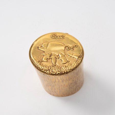 L'altruisme est amour Line Vautrin boîte en bronze doré - 01