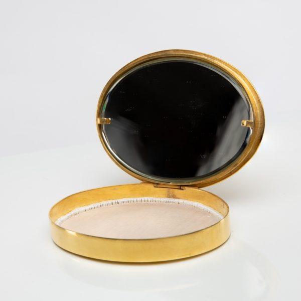 La fille aux nattes gilded bronze compact, Line Vautrin France - 06
