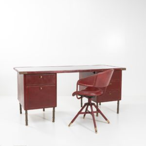 Coffered desk with its matching chair in the shape of a horse saddle Jacques Adnet - 02