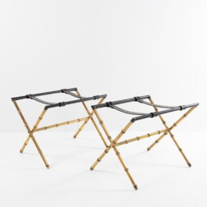 Pair of trestles decorated with faux-bamboo Jacque Adnet -0