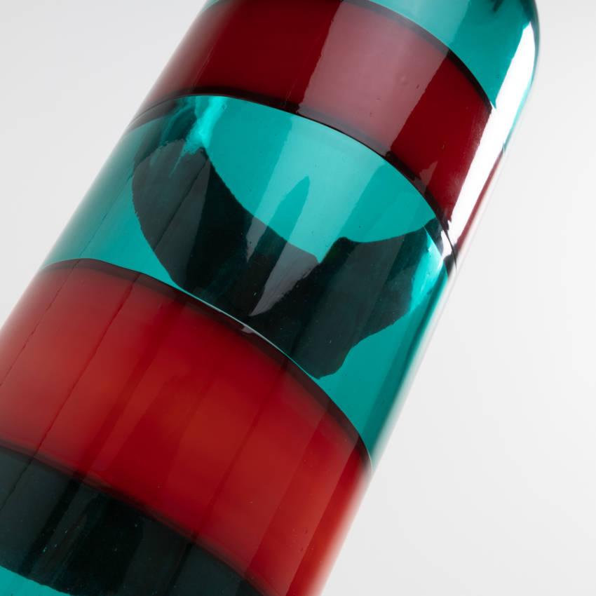 UE5_23 Fasce orizzontali green bottle with red band Fulvio Bianconi