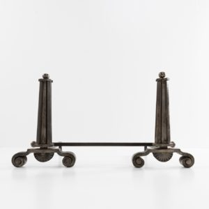 Pair of wrought iron andirons, Art Deco period Raymond Subes France - 01
