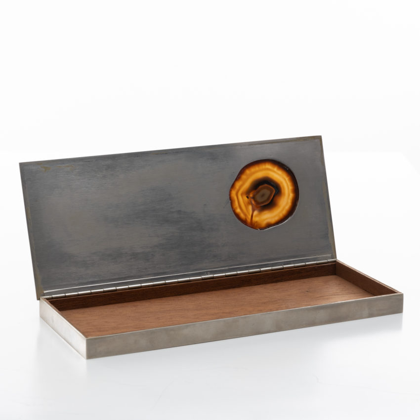 Large decorative box in silvered metal - Maria Pergay - 03