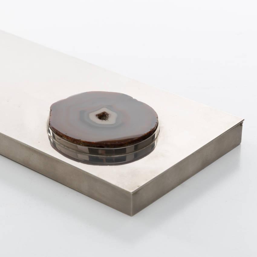 Large decorative box in silvered metal - Maria Pergay - 04