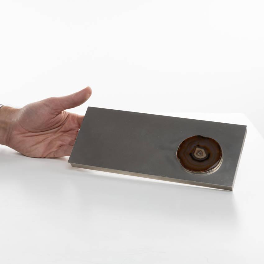 Large decorative box in silvered metal - Maria Pergay - 05